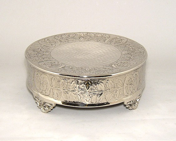 "Picture of Nickel Plated Cake Plateau Round SOLD AS IS 16""D #79717X"