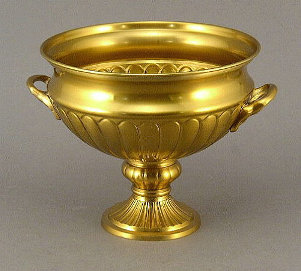 "Picture of Antique Gold Bowl with Pedestal & Small Handles  | 8""Dx7""H 
