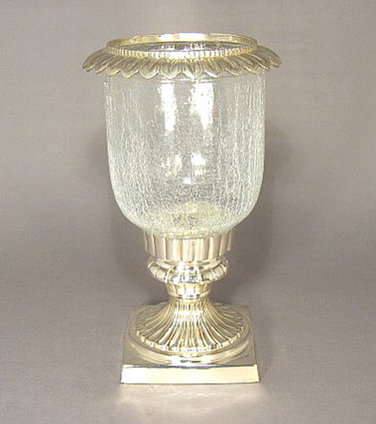 "Picture of Silver Plated on Brass Candle Holder Square with Glass Shade and Ring  | 6.5""Dx16""H 