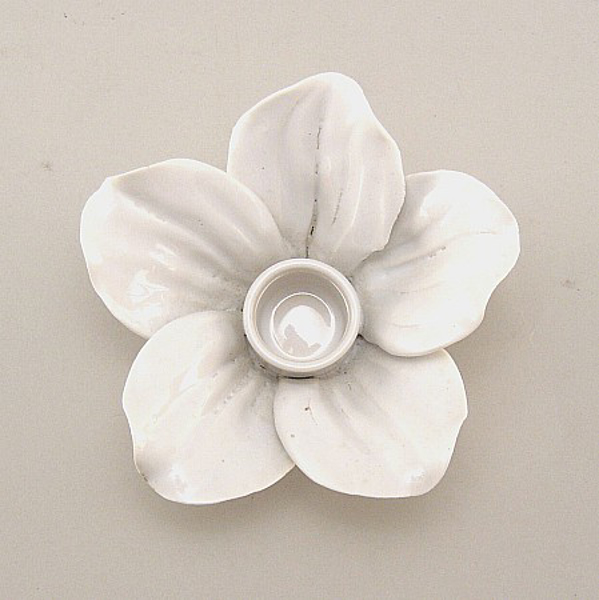 "Picture of White Candle Holder Ceramic Flower 5-Petals  | 4""Dx2.5""H 