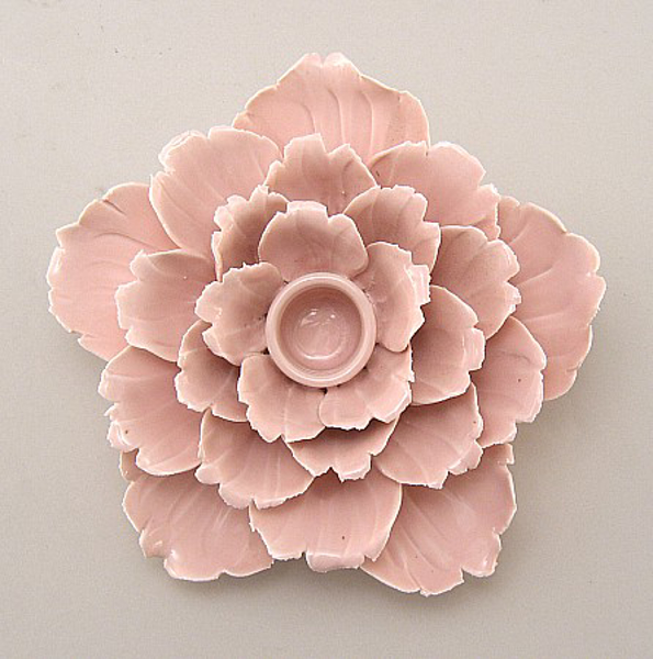 """Picture of Pink Candle Holder Ceramic Flower 25-Petals Peony 