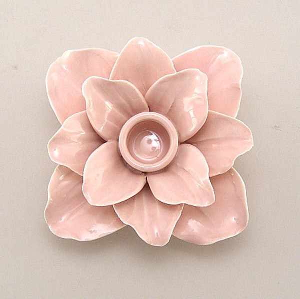 """Picture of Pink Candle Holder Ceramic Flower 12-Petals Square  