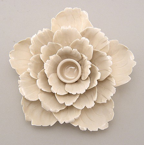 """Picture of Ivory Candle Holder Ceramic Flower 25-Petals Peony    5.75""""Dx3""""H    Item No. 71021"""