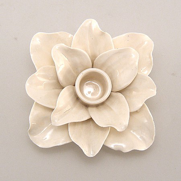 """Picture of Ivory Candle Holder Ceramic Flower 12-Petals Square  