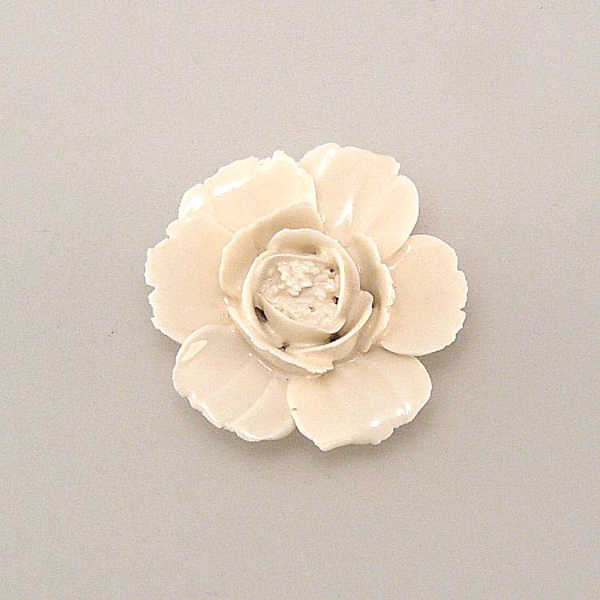 "Picture of Ivory Flower Ceramic Mini Accent Piece | 2.25""Dx1.25""H 