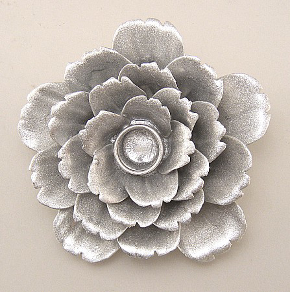 """Picture of Silver Candle Holder Ceramic Flower 25-Petals Peony  