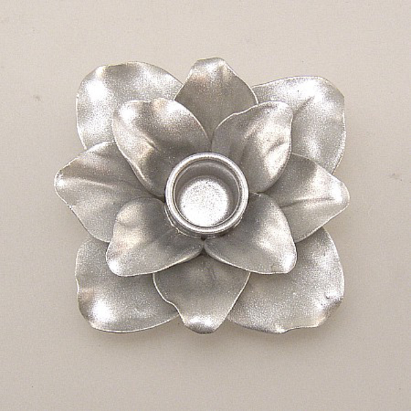 """Picture of Silver Candle Holder Ceramic Flower 12-Petals Square  