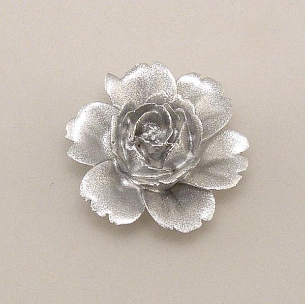 "Picture of Silver Flower Ceramic Mini Accent Piece   2.25""Dx1.25""H    Item No. 71034"