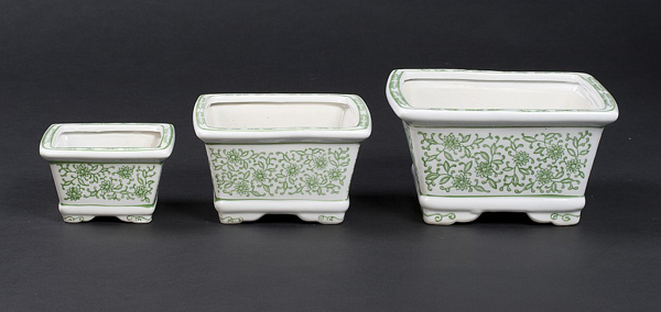 """Picture of Green Floral Print on White Ceramic Planter Square Nested Set/3  