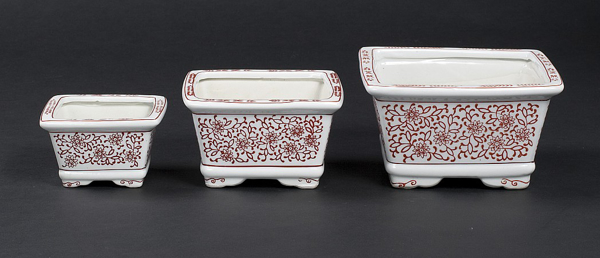 """Picture of Red Floral Print on White Ceramic Planter Square Nested Set/3  