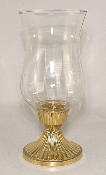 "Picture of Brass Candle Holder with Glass Shade #99546  5""Dx9.5""H"