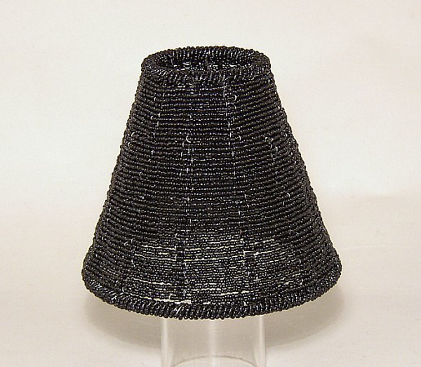 """Picture of Black Bead Lamp Shade Woven on Metal Wire Frame    2.5""""x5.5""""x5""""H    Item No. 20320"""