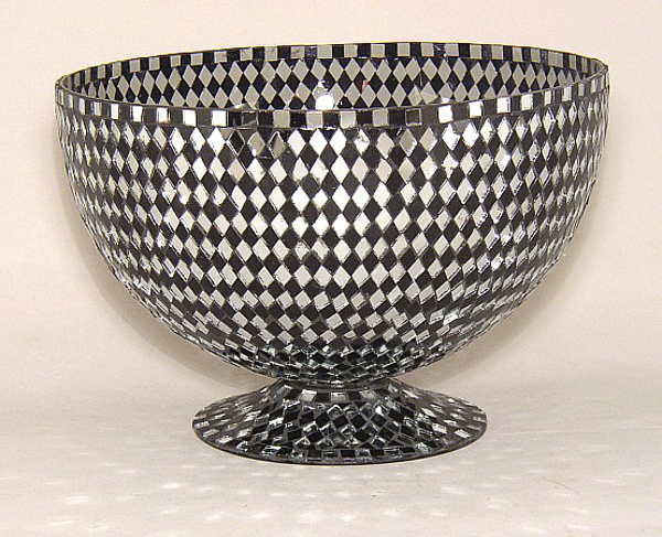 """Picture of Black Mosaic Bowl Glass Black & Mirror Diamond Shaped Chips 
