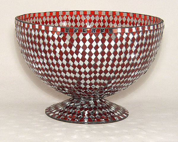"Picture of Red Mosaic Bowl Glass Red & Mirror Diamond Shaped Chips | 10""Dx7""H 