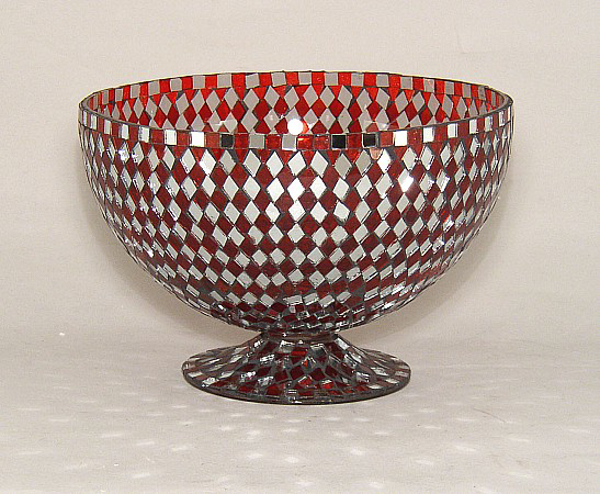 "Picture of Red Mosaic Bowl Glass Red & Mirror Diamond Shaped Chips | 8""Dx5.5""H 