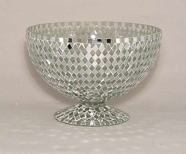 """Picture of Silver Mosaic Bowl Glass Clear & Mirror Diamond Shaped Chips 