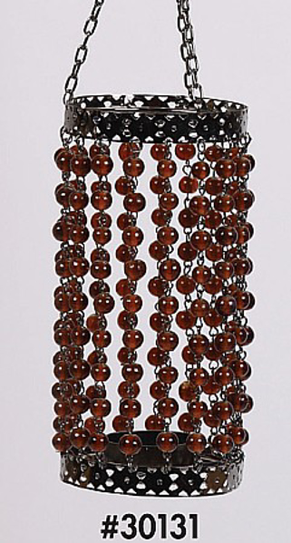 """Picture of Bead Hanger Cylindrical Dark Amber 3""""Dx14""""H  #30131"""