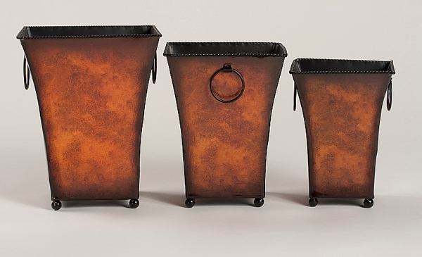 """Picture of Planter Metal Square Ball Feet Rustic Brown Set/3 8""""-9""""-10""""H  #44606"""