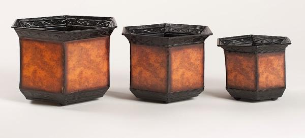 "Picture of Planter Metal Hexagonal Rustic Brown Set/3 6.5""-8""-9""Wide   #44609"