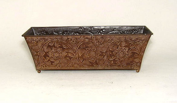 """Picture of Dark Brown Planter Embossed Pattern Rectangle Footed 