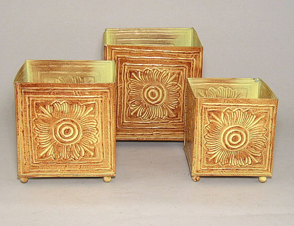 """Picture of Earth Tone Planter Embossed Pattern Square Footed 