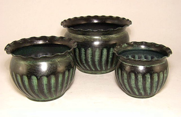 "Picture of Dark Green Planter Fluted Pattern w/ Waved Lip Tree | Set of 3 | 5.50"" x 4.50""/7.00"" x 5.00""/8.50"" x 6.00""H 