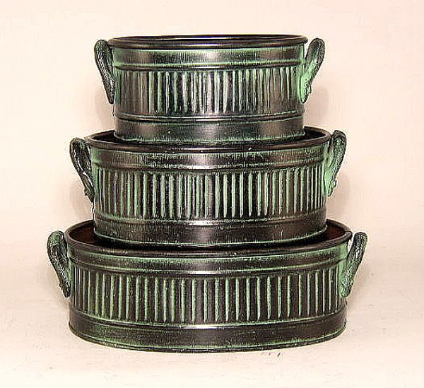 "Picture of Dark Green Planter (Oval) Rib Pattern w/ Handles | Set of 3 | 4.50"" x 6.00""/5.50"" x 7.00""/6.00"" x 9.00"" X 3.00"" H 