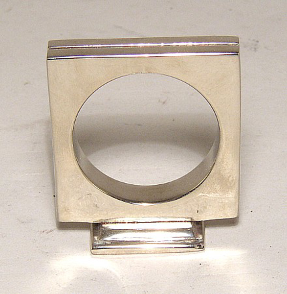 """Picture of Nickel Plated on Brass Square Card Holder and Napkin Ring Set/4  