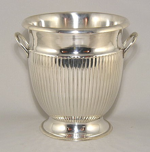 """Picture of Nickel Finish on Brass Wine Cooler Round Fluted Lines and Handles  