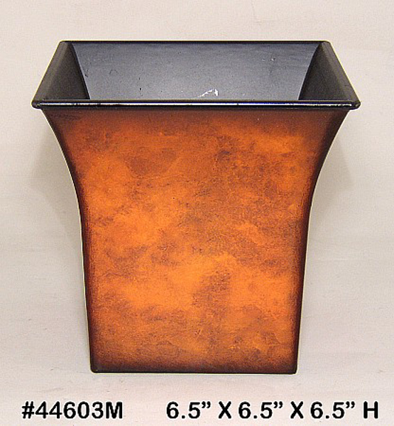 "Picture of Planter Resin Square Rustic Brown 6.5""x6.5""H  #44603M"