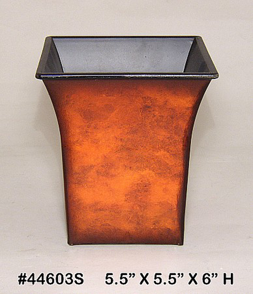 "Picture of Planter Resin Square Rustic Brown 5.5""x6""H  #44603S"