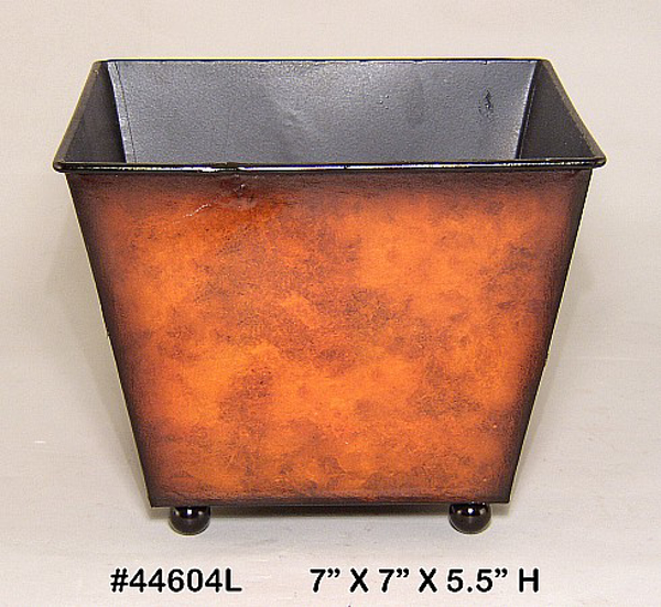 "Picture of Planter Metal Square Rustic Brown Ball Feet 7""x5.5""H  #44604L"