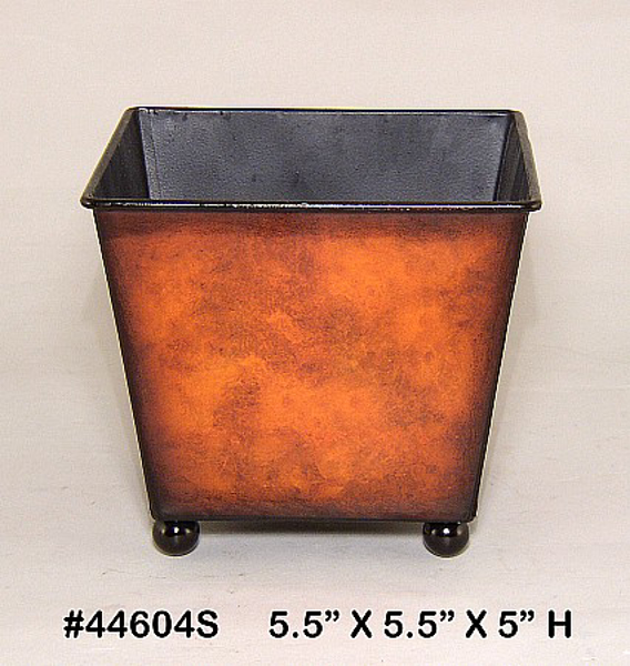 """Picture of Planter Metal Square Rustic Brown Ball Feet 5.5""""x5""""H  #44604S"""