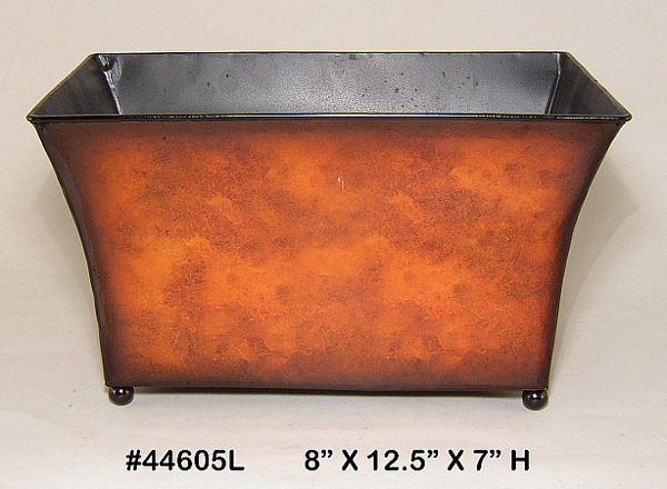 """Picture of Planter Metal Rectangle Rustic Brown Ball Feet 8""""x12.5""""x7""""H  #44605L"""