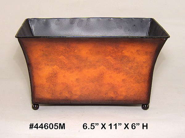"""Picture of Planter Metal Rectangle Rustic Brown Ball Feet 6.5""""x11""""x6""""H  #44605M"""