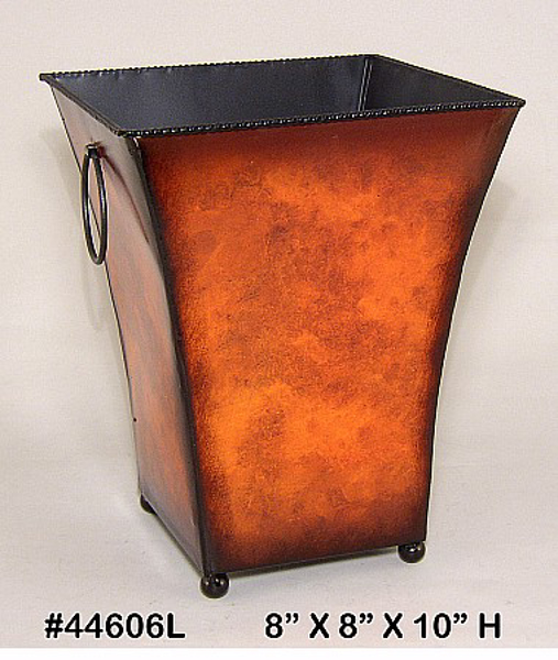 """Picture of Planter Metal Square Ball Feet Rustic Brown 8""""x10""""H  #44606L"""