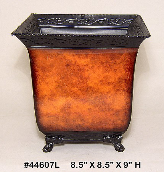 "Picture of Planter Metal Square Rustic Brown 4-Legs 8.5""x9""H  #44607L"