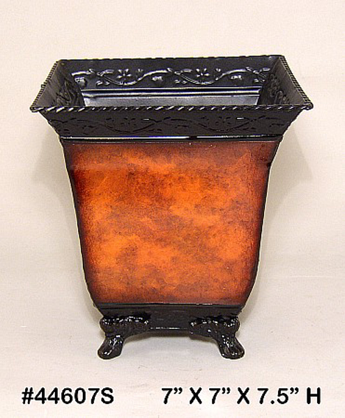 """Picture of Planter Metal Square Rustic Brown 4-Legs 7""""x7.5""""H  #44607S"""