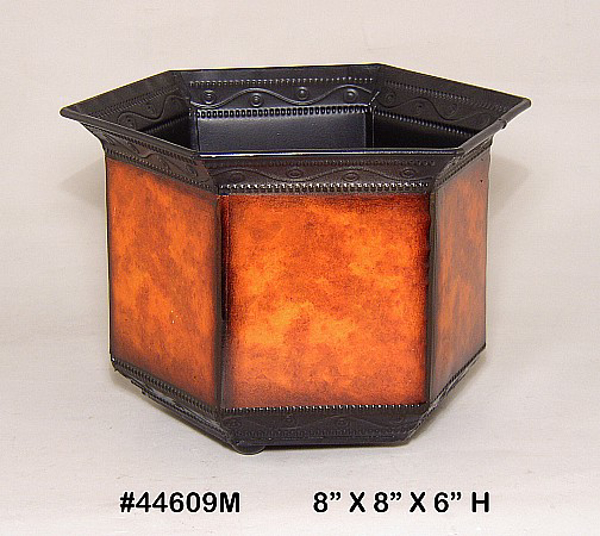 "Picture of Planter Metal Hexagonal Rustic Brown 8""Wx6""H  #44609M"