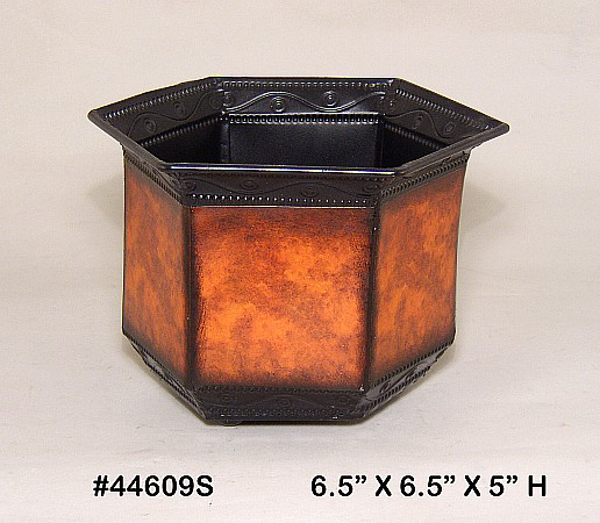 "Picture of Planter Metal Hexagonal Rustic Brown 6.5""Wx5""H  #44609S"