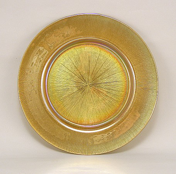 "Picture of Charger Plate Glass Sun Rays Gold Set/12 13""D  #20511"