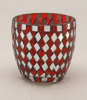 "Picture of Votive Candle Holder Mirror Mosaic Cup Red Set of 6  |2.75""Dx3""H