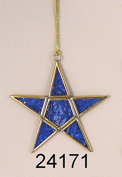 "Picture of Blue Textured Glass 5-Point Star in Brass Frame with Hanging String  | 5.5""W x 5.5""H 