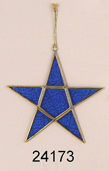 """Picture of Blue Textured Glass 5-Point Star in Brass Frame with Hanging String  