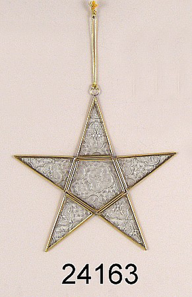 """Picture of Clear Textured Glass 5-Point Star in Brass Frame with Hanging String  