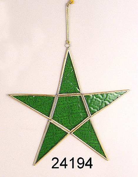 """Picture of Green Textured Glass 5-Point Star in Brass Frame with Hanging String  