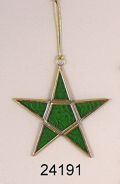 "Picture of Green Textured Glass 5-Point Star in Brass Frame with Hanging String  | 5.5""W x 5.5""H 