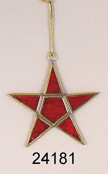 """Picture of Red Textured Glass 5-Point Star in Brass Frame with Hanging String  