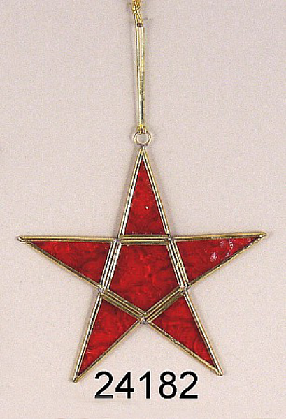 "Picture of Red Textured Glass 5-Point Star in Brass Frame with Hanging String  | 7""W x 7""H 