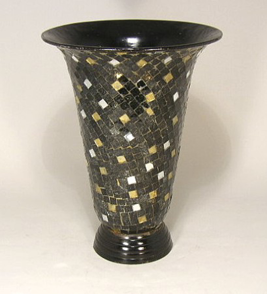 """Picture of Black Mosaic on Metal Vase Tapered Centerpiece 